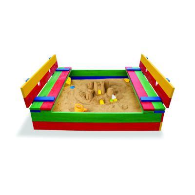 Детская разноцветная песочница с крышкой и лавочками