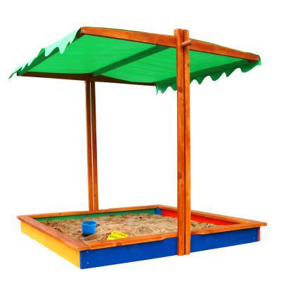 Деревянная песочница с крышкой-навесом